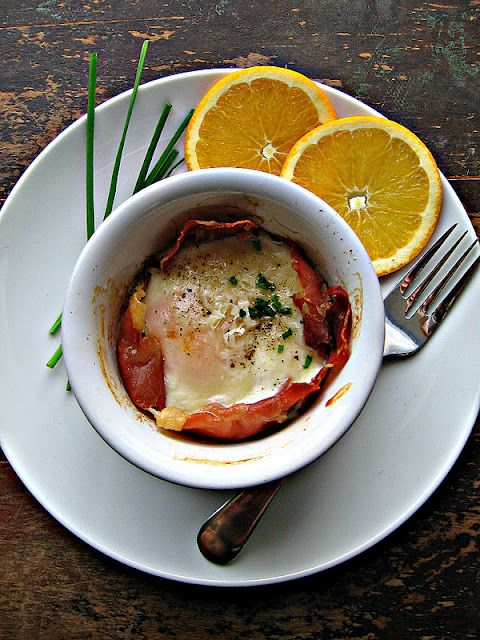 from sweetsugarbean - Fresh Start: Baked Eggs with Prosciutto and Parmesan