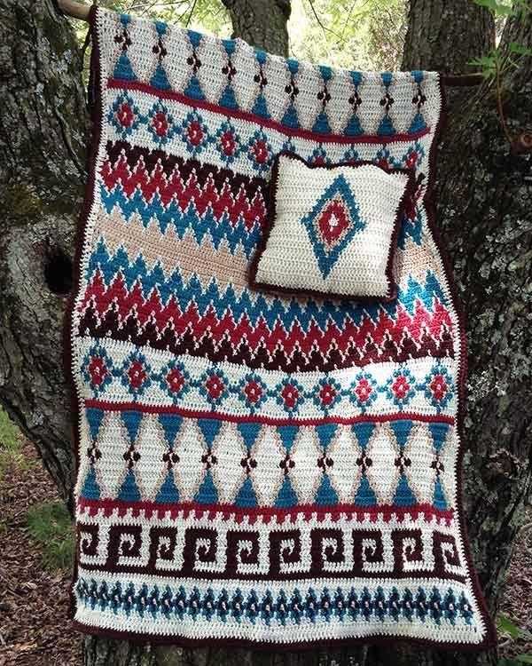 Aztec Afghan Pillow Set Crochet Pattern Afghans Aztec And Crochet