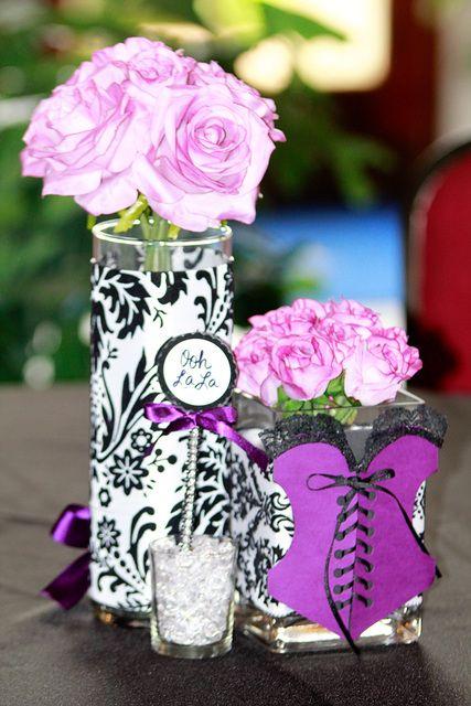 damask black and purple bridalwedding shower party ideas photo 1 of 10