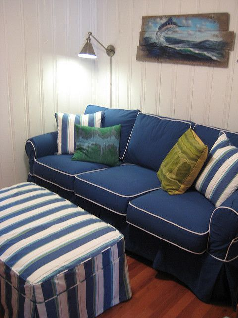 Washable sofa in navy cotton with striped ottoman navy for Navy blue sectional sofa with white piping