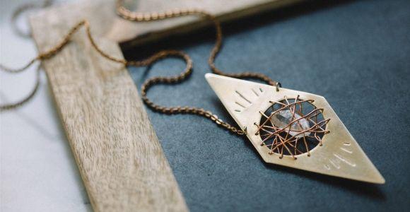 Crystal Cavern Necklace   Handcrafted Brass Tibetan Quartz Pendant   Modern Gypsy Style
