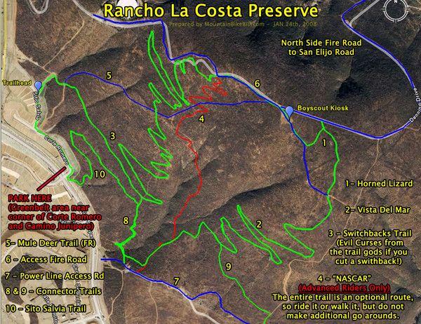 Rancho La Costa Preserve Trail Maps Map   MTB   Pinterest   Mountain ...