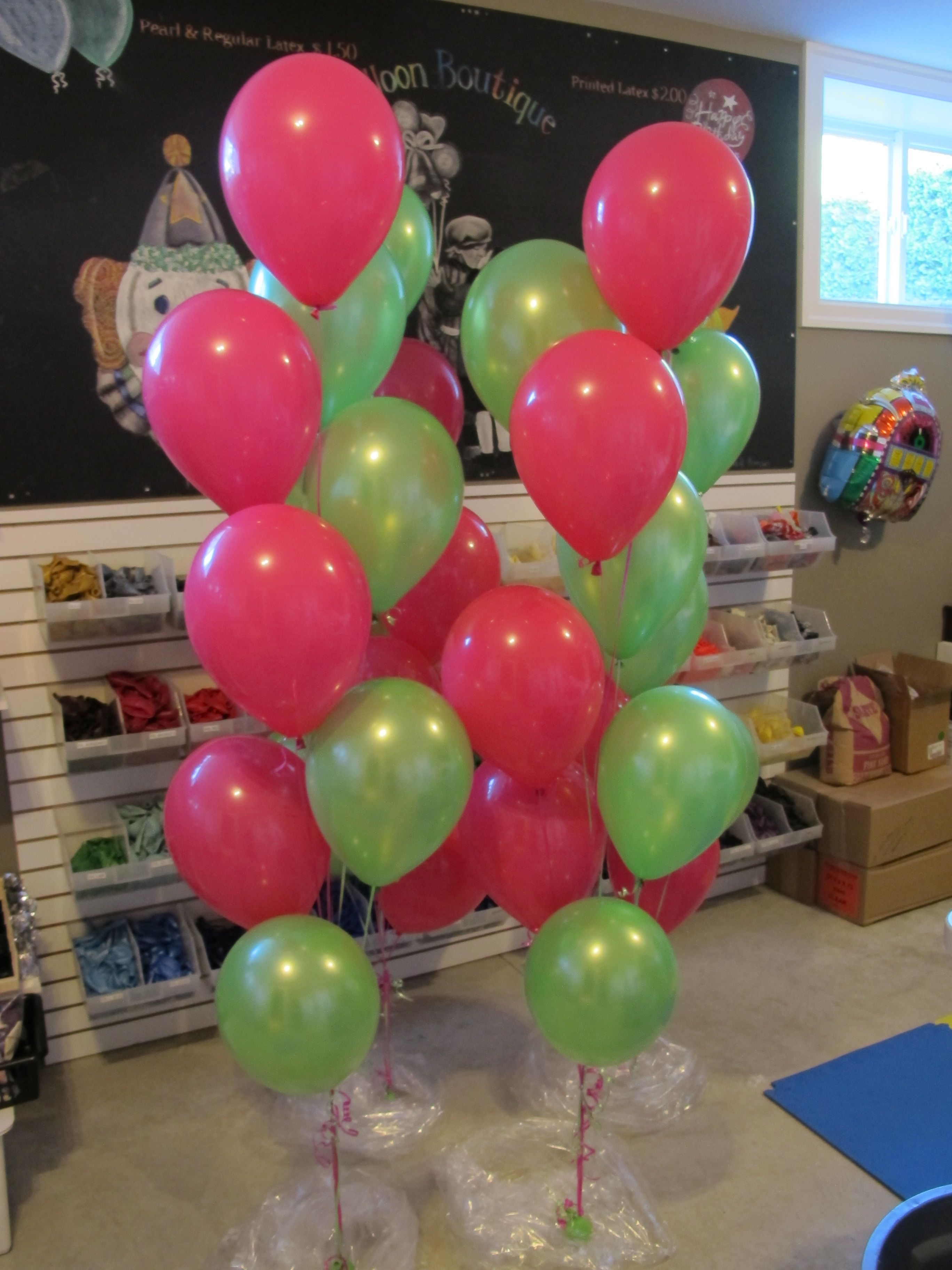 Pink and green balloon bouquets perfect sense balloons
