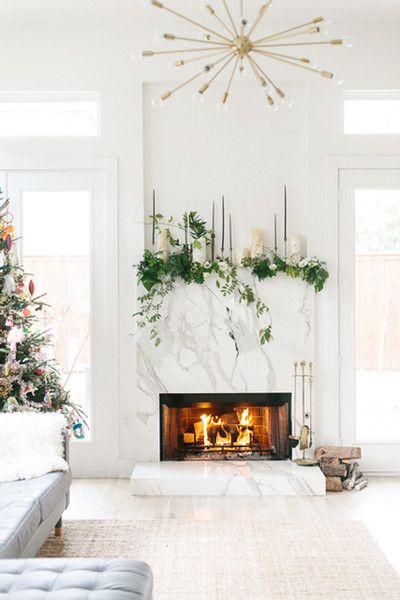 Marble Marvel How To Diy Your Holiday Mantel Photos Modern Fireplace Decor