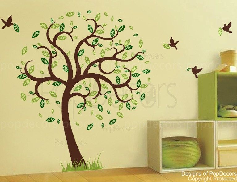 Living Room Nature Tree Wall Decal Flying Birds Sticker Grass- Hope ...