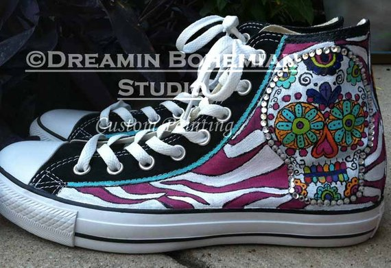 e09a100e1ef013 Funky Animal Print and Sugar Skulls Painted on Converse All Star ...