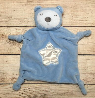 Stepping Stones Blue Bear Baby Blanket Satin Star Cuddle Up Knotted Corner Lovey