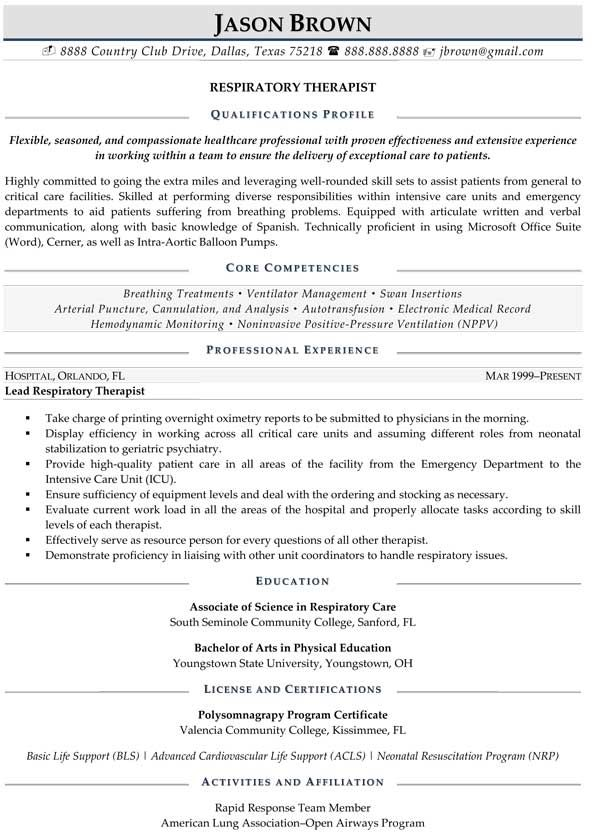 Respiratory Therapist Resume (Sample) Resume Samples Pinterest