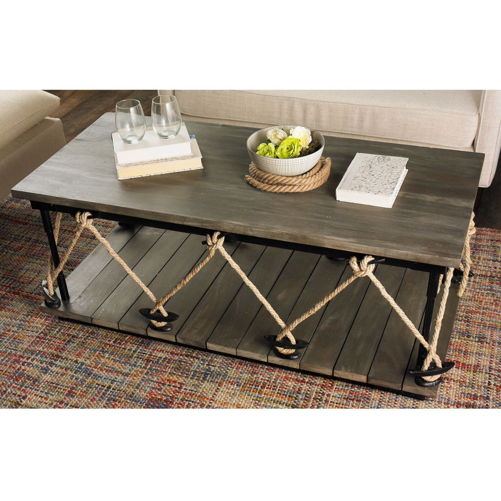 Industrial Rope And Wood Coffee Table Brown Coffee Table Wood