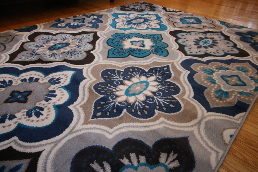 New 9x12 Blue Beige Navy Grey Aqua Teal Modern Floral Diamond Area Rug 10x13 Home Garden Rugs Carpets Area Rugs Modern Area Rugs Area Rugs Carpet Sale