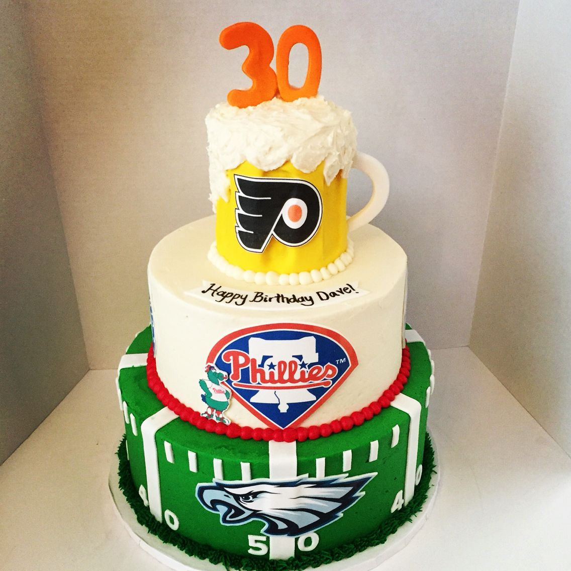 Amazing Philly Sports Cake Philadelphia Sports Cake 30Th Birthday Cake Funny Birthday Cards Online Hendilapandamsfinfo