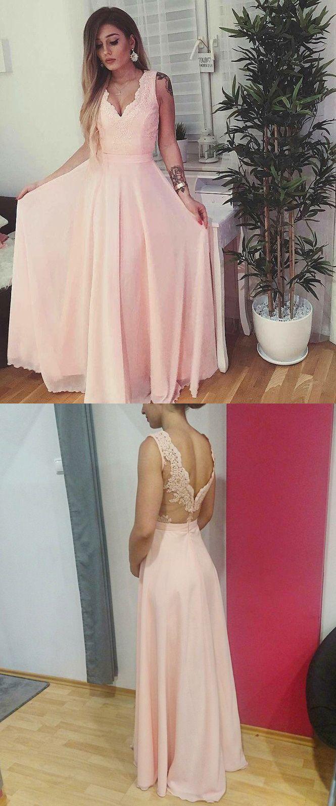 Elegant A Line V Neck Long Blush Pink Lace Chiffon Prom/Bridesmaid ...