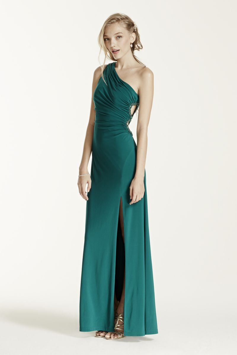 One shoulder jersey dress with circle cutout style s