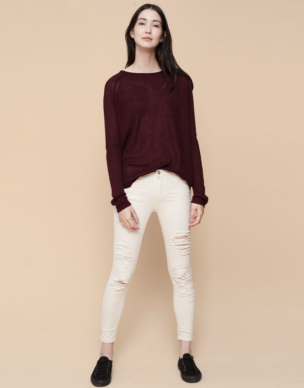 Pull&Bear - mujer - jeans - jeans pitillo con rotos ...