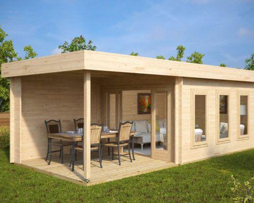 modernes gartenhaus mit veranda lucas e 9m 44mm 3x6 gartenh user aus holz gartenh user. Black Bedroom Furniture Sets. Home Design Ideas