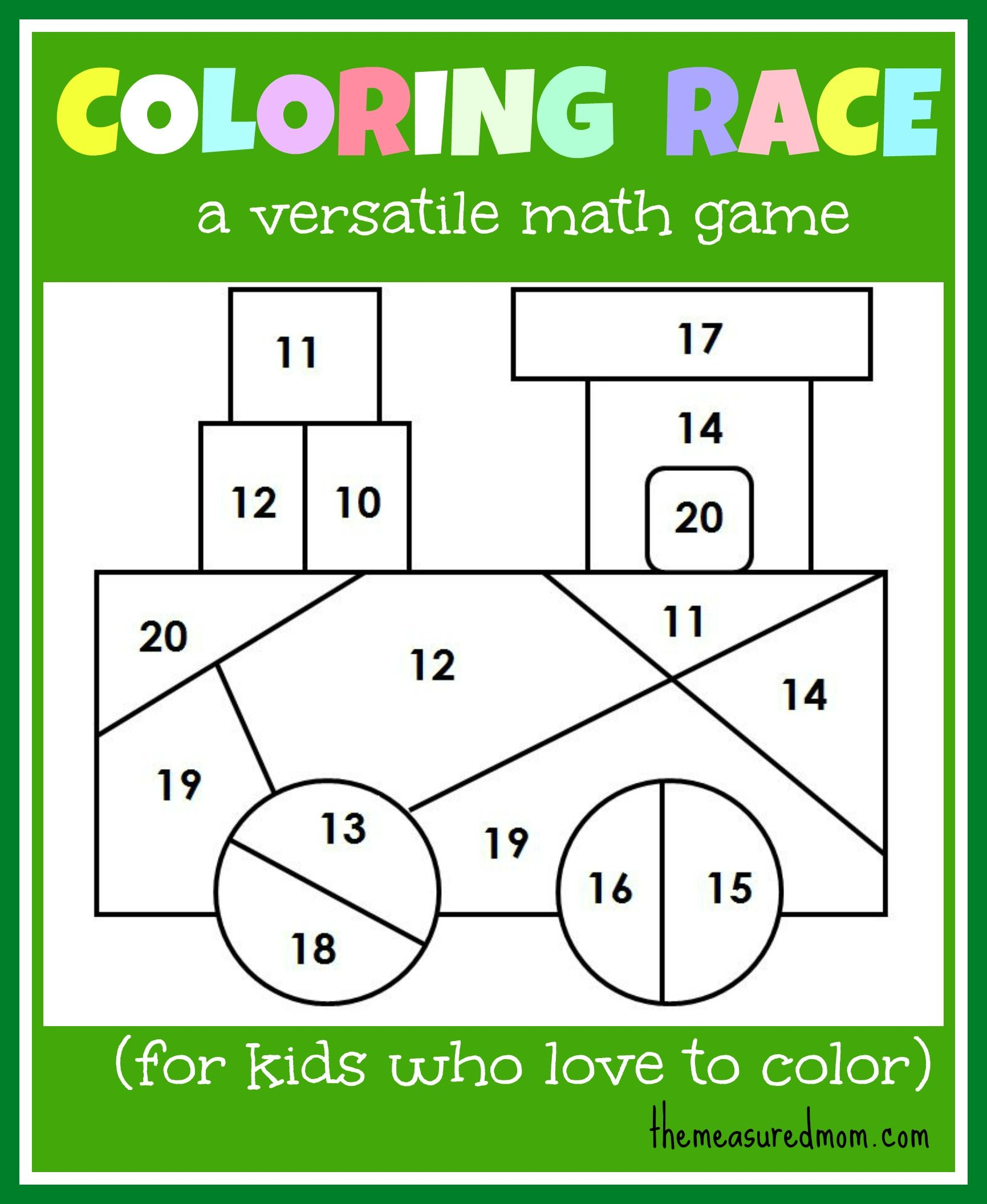 Math Game For Kids Coloring Race Combines Math And Coloring The Measured Mom Math Activities Preschool Printable Math Games Math Games For Kids Addition worksheets online game