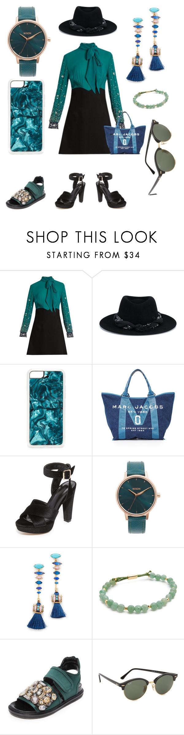"""Greenish fashion"" by gadinarmada-1 ❤ liked on Polyvore featuring Miu Miu, Maison Michel, Zero Gravity, Marc Jacobs, Raye, Nixon, Elizabeth Cole, Gorjana, Marni and Ray-Ban"