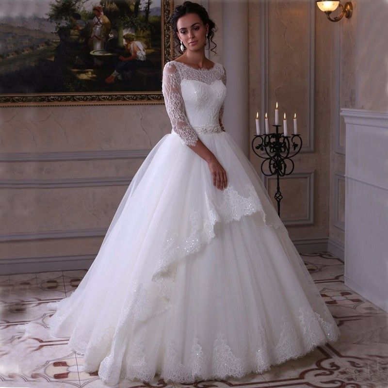Click To Buy Long Elegant Wedding Dresses For Russian Bride
