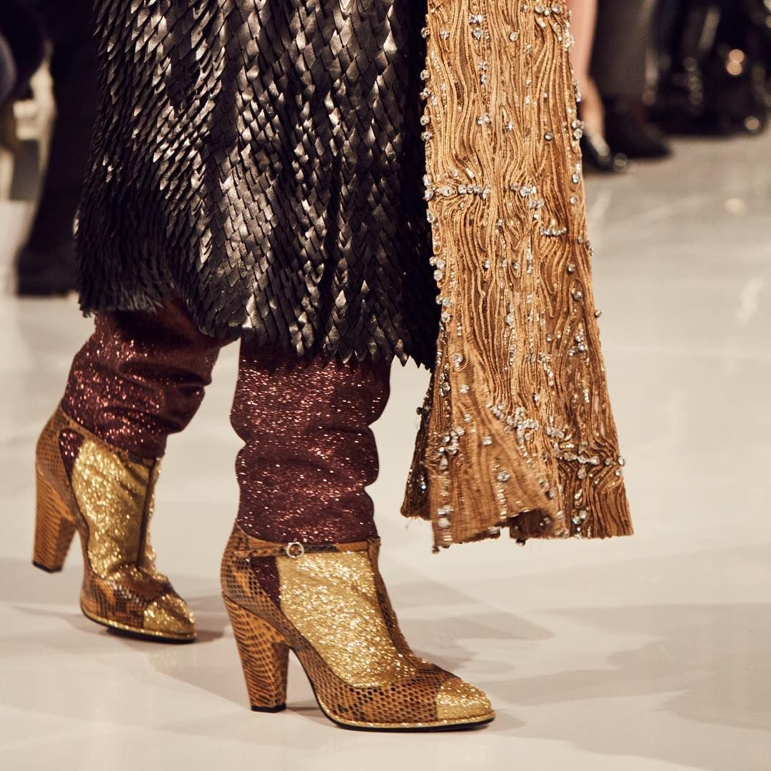 """A pair of bronze glitter 'sandal boots' give the finishing touch to Passage 17 of our SS16 'Artisanal' Collection designed by John Galliano. #pfw"""