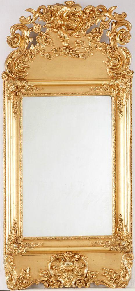 rokoko spiegel mitte 18 jh vergoldet 143x65 cm barock louis vx m bel kunsthandwerk. Black Bedroom Furniture Sets. Home Design Ideas
