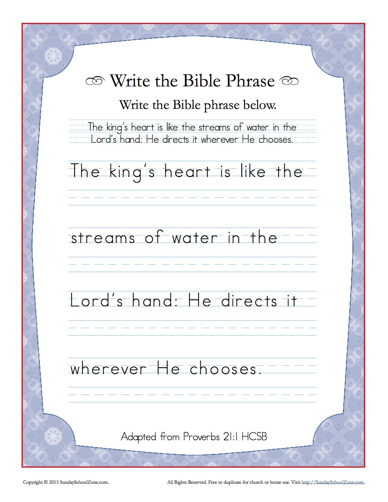 Proverbs 21 1 Write The Bible Phrase Worksheet