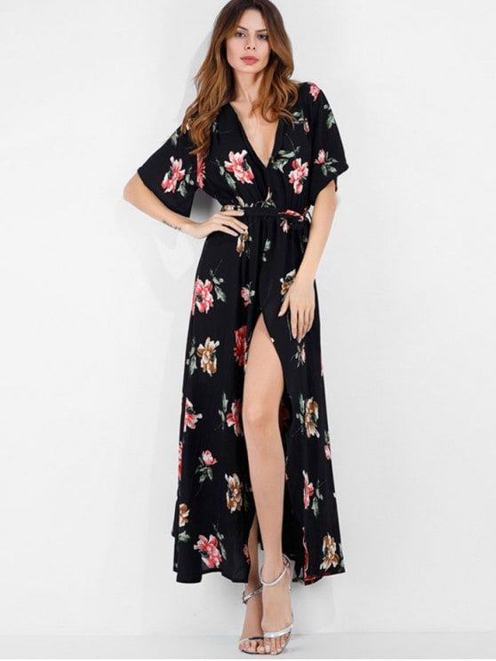 36e01ba3e26c 39% Off Surplice Floral Boho Belted Slit Dress Extra 10% Off $40, 13% Off  $60, Use Code: WOMEN19