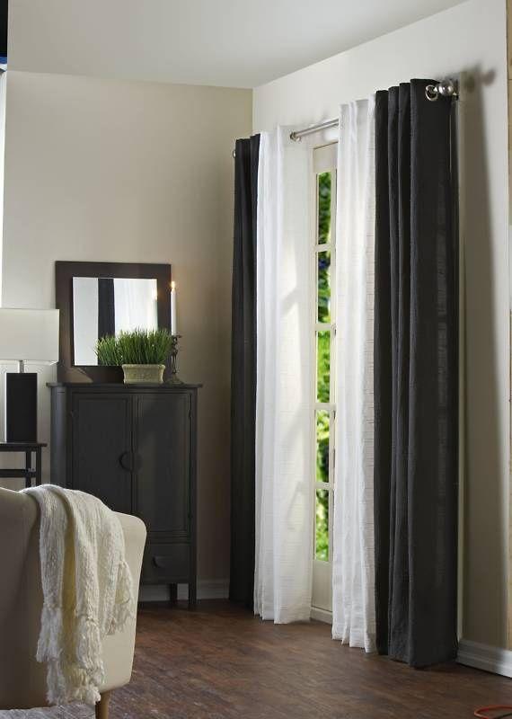 black curtains living room