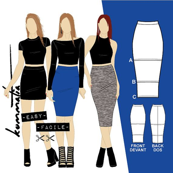 Bodycon Skirts Mini Knee And Midi Length Sewing Pattern Pdf For Stretch Knits Easy Fashion Sewing Midi Skirt Pattern Skirt Patterns Sewing