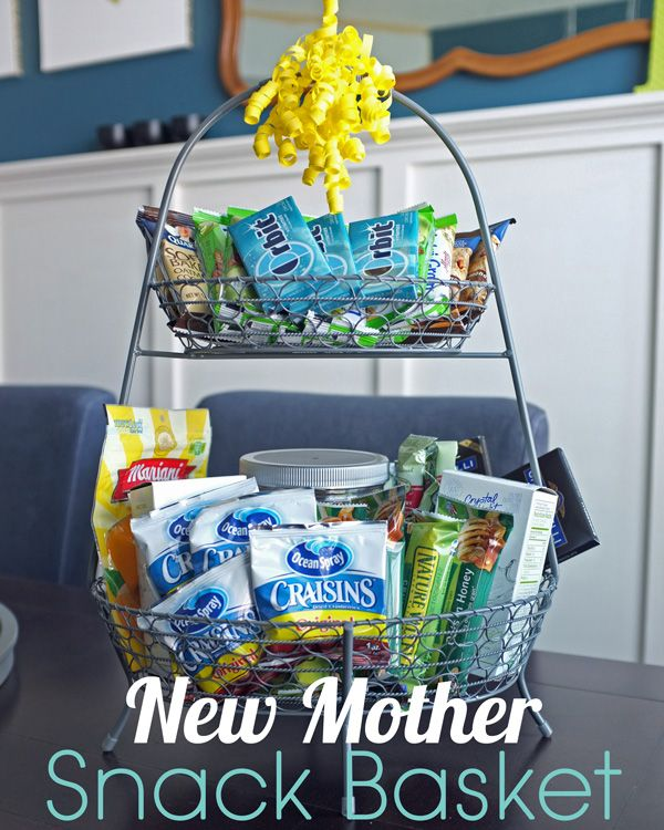2 tier snack basket idea: TJ's olive oil popcorn, microwave popcorn, raisons, granola bars, pretzels, cracker (laughing cow cheese in mini fridge), cereal (almond or coconut milk mini bottles in fridge), naked smoothies in fridge, almonds, walnuts, gum, etc
