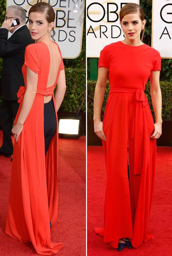 Lady in red: Emma Watson wears sexy backless dress to Golden Globe ...