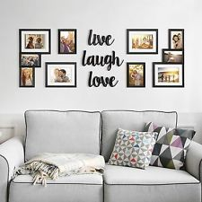 Photo of Photo Picture Frame Collage Set w/ Word Plaques Wall Art Home Decor Wedding Gift