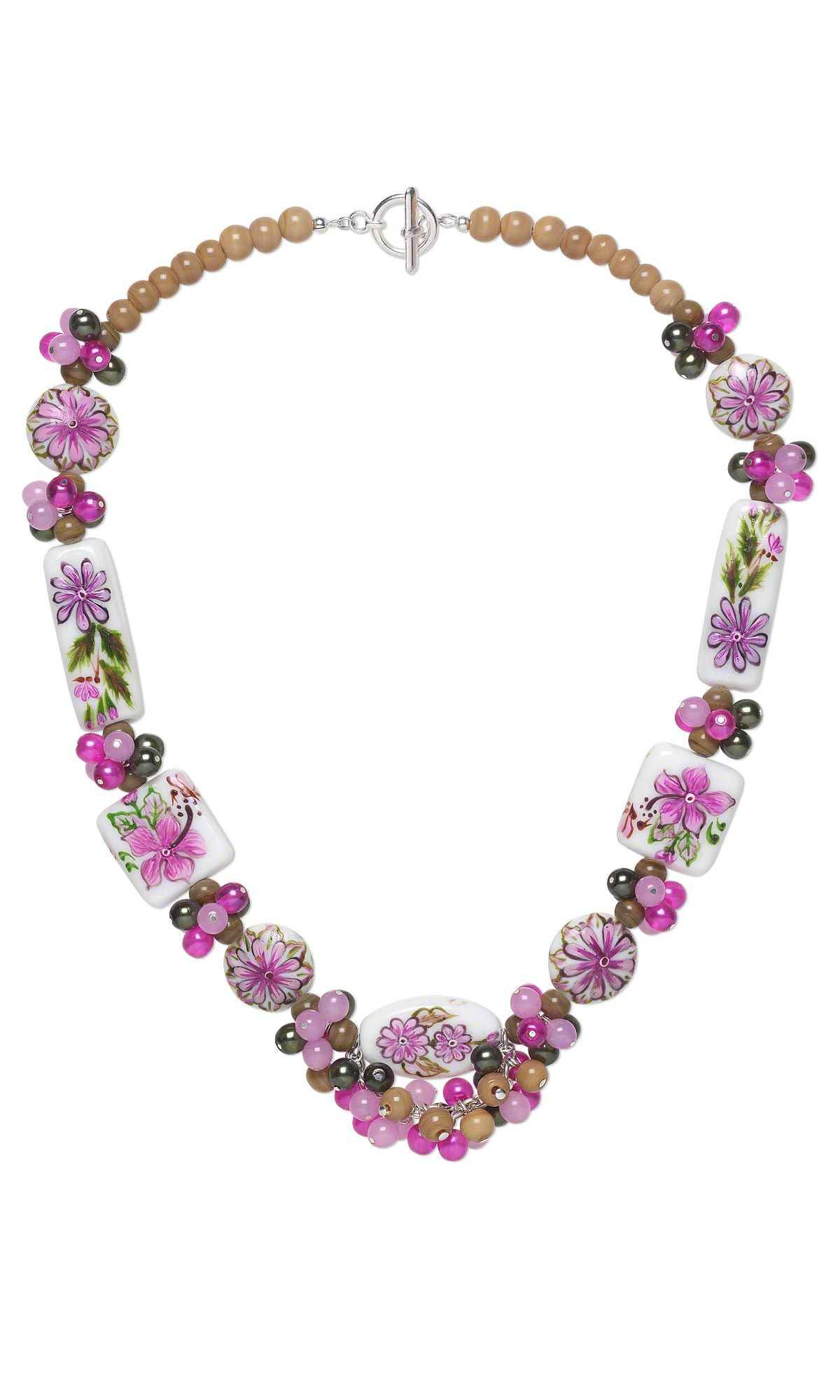 jewelry design single strand necklace with czech glass beads and