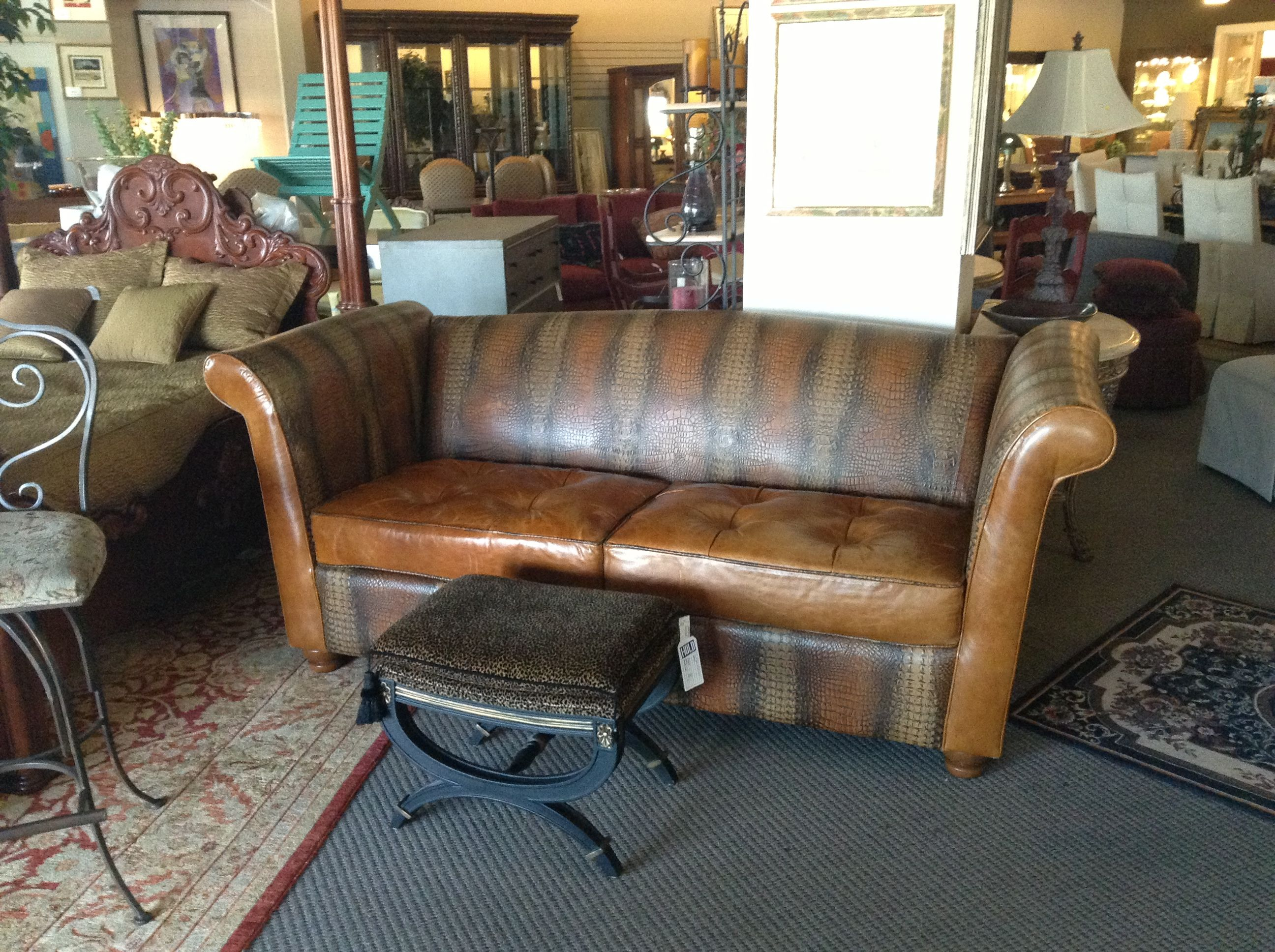 Living Room Furniture Sets Austin Tx English Country Images Leather Sofa With Embossed Alligator Print Found At Design Consignment In Texas
