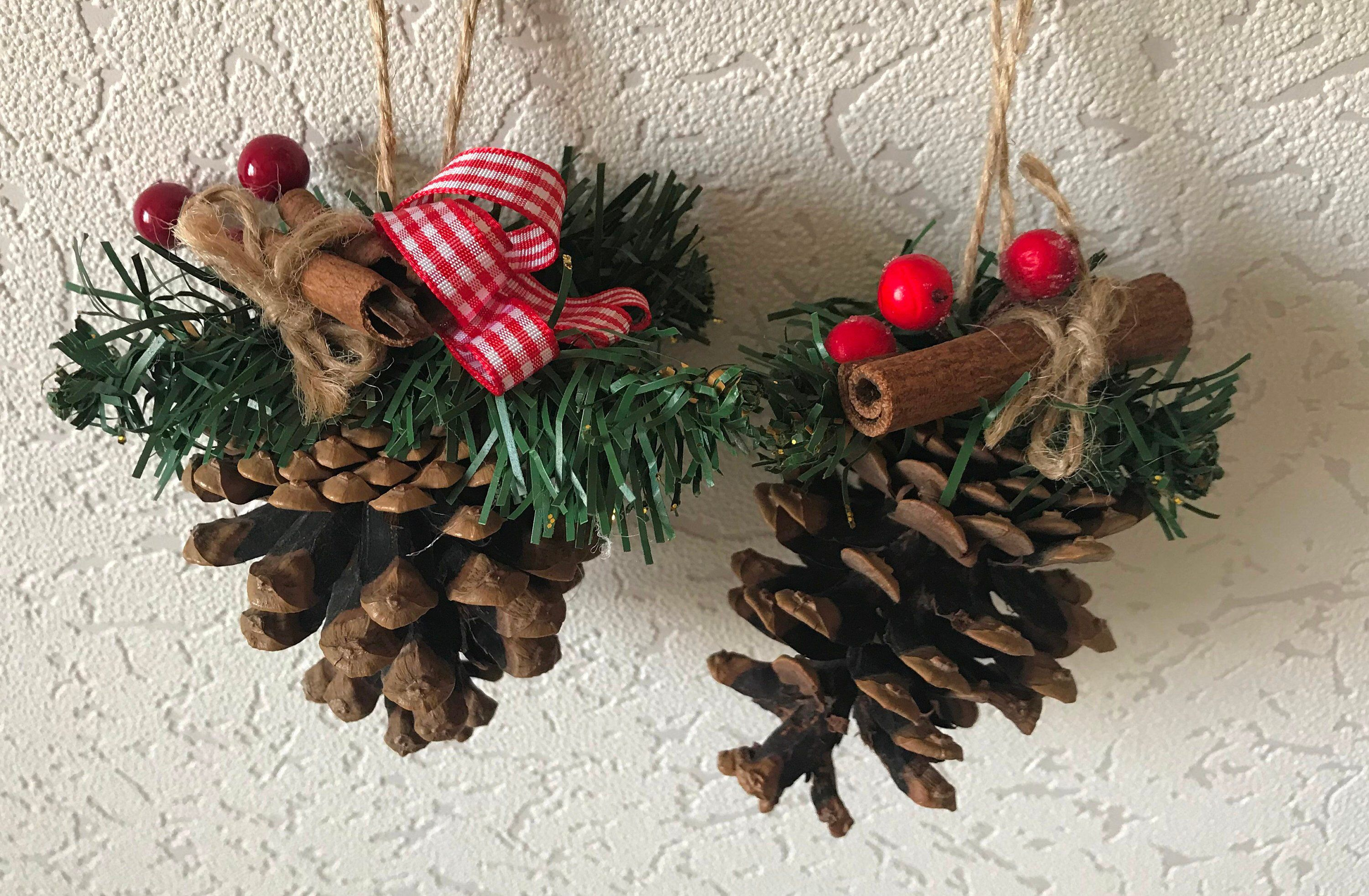 Excited To Share This Item From My Etsy Shop Set Of 2 Pine Cone Christmas Diy Christmas Tree Ornaments Pinecone Crafts Christmas Christmas Decorations Rustic