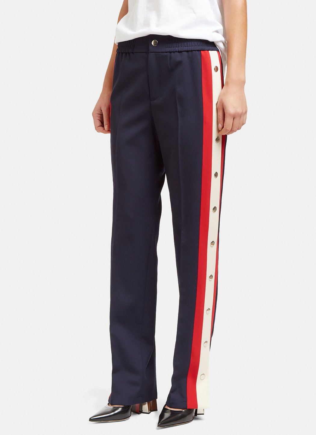 bfe95ad82e7 GUCCI Women S Striped Popstud Seam Track Pants In Navy.  gucci  cloth