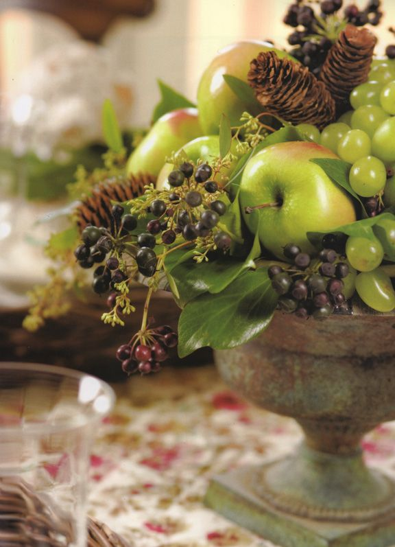 Apples grapes berries and cones used to make a lovely