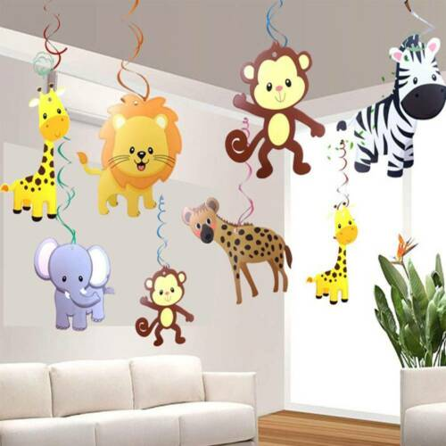 30pcs Set Safari Animal Jungle Ceiling Hanging Swirl Decorations Party Home Diy Ebay In 2020 Jungle Decorations Ceiling Hanging Animal Decor