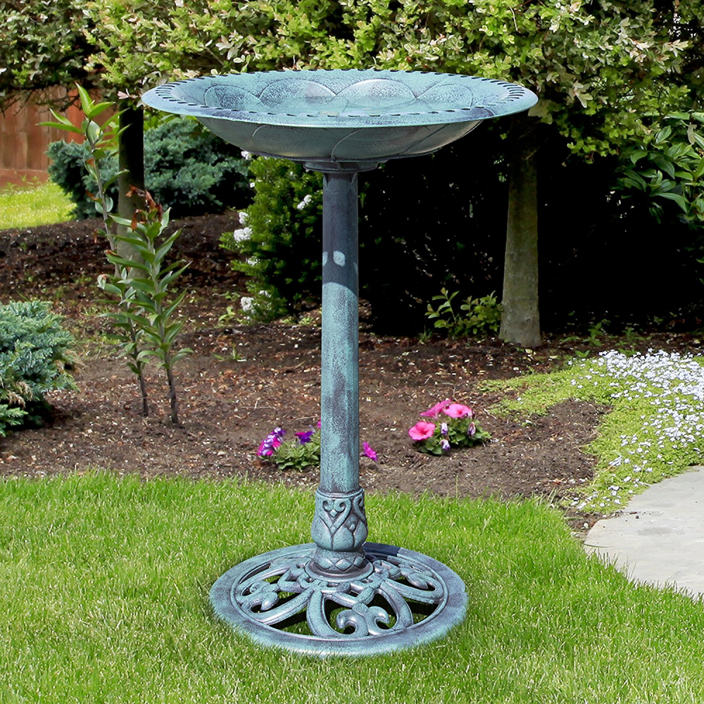 Resin Bird Bath Birdbath Garden Outdoor Feeder Pedestal Backyard Yard Decor