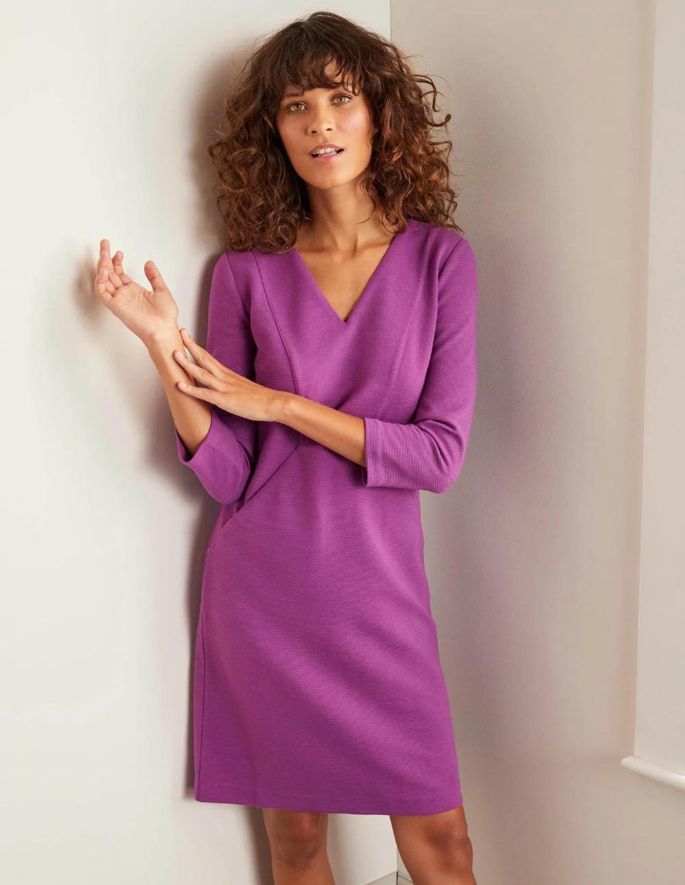 Bronte Ottoman Dress Jewel Purple Dresses Knee Skirts Fashion [ 1292 x 1000 Pixel ]