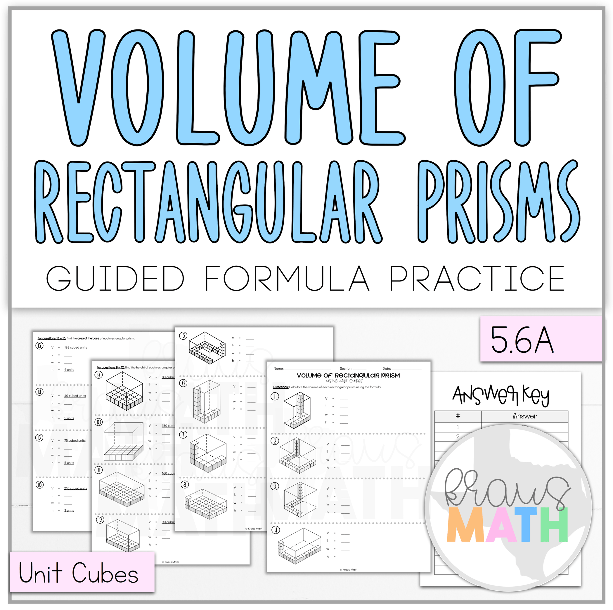 Volume Of Rectangular Prisms Using Unit Cubes Worksheet