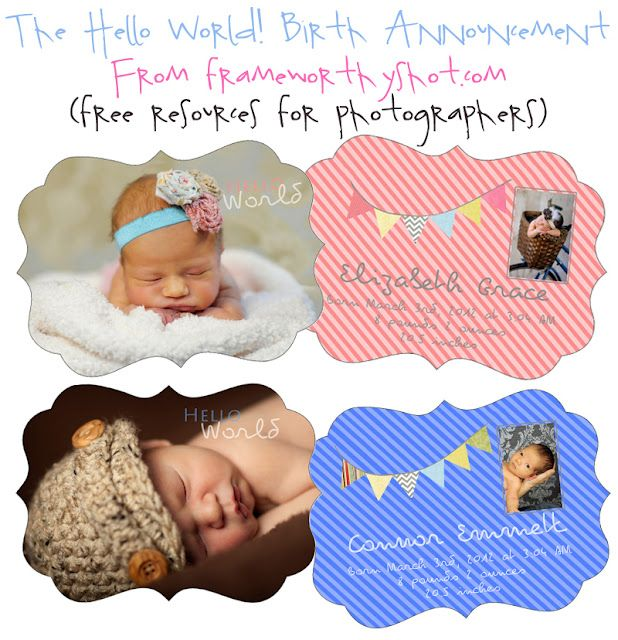 Free adorable birth announcement template from Frame Worthy Shot - announcement template free