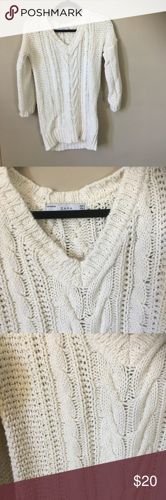 Zara cable knit sweater size small - off white | Cable knit ...