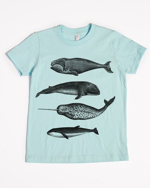 0ff6aff6154a5 Whale Shirt - Kids  T-shirt - Children s Gift - Screen Printed Whales