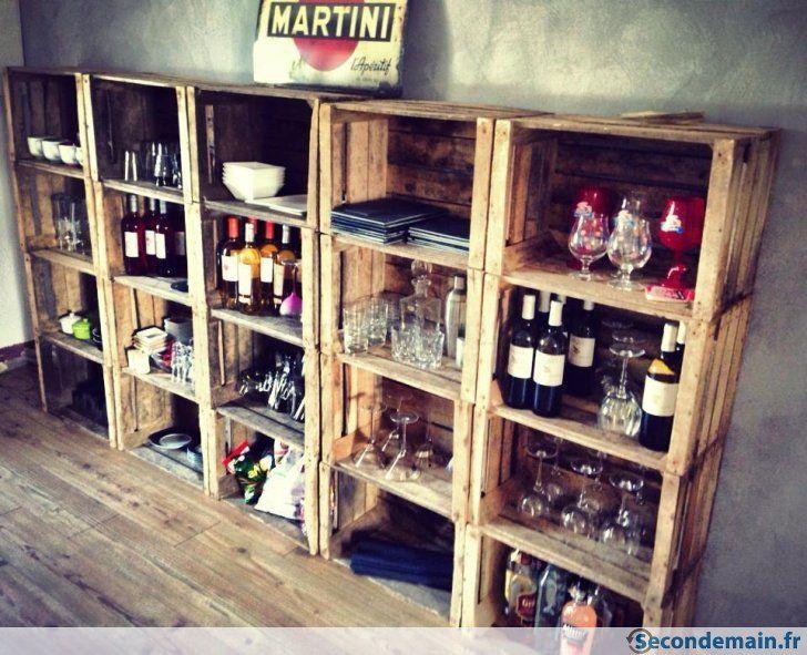 Cagette cageot caisse pomme boite en bois - Meuble avec caisse de vin en bois ...