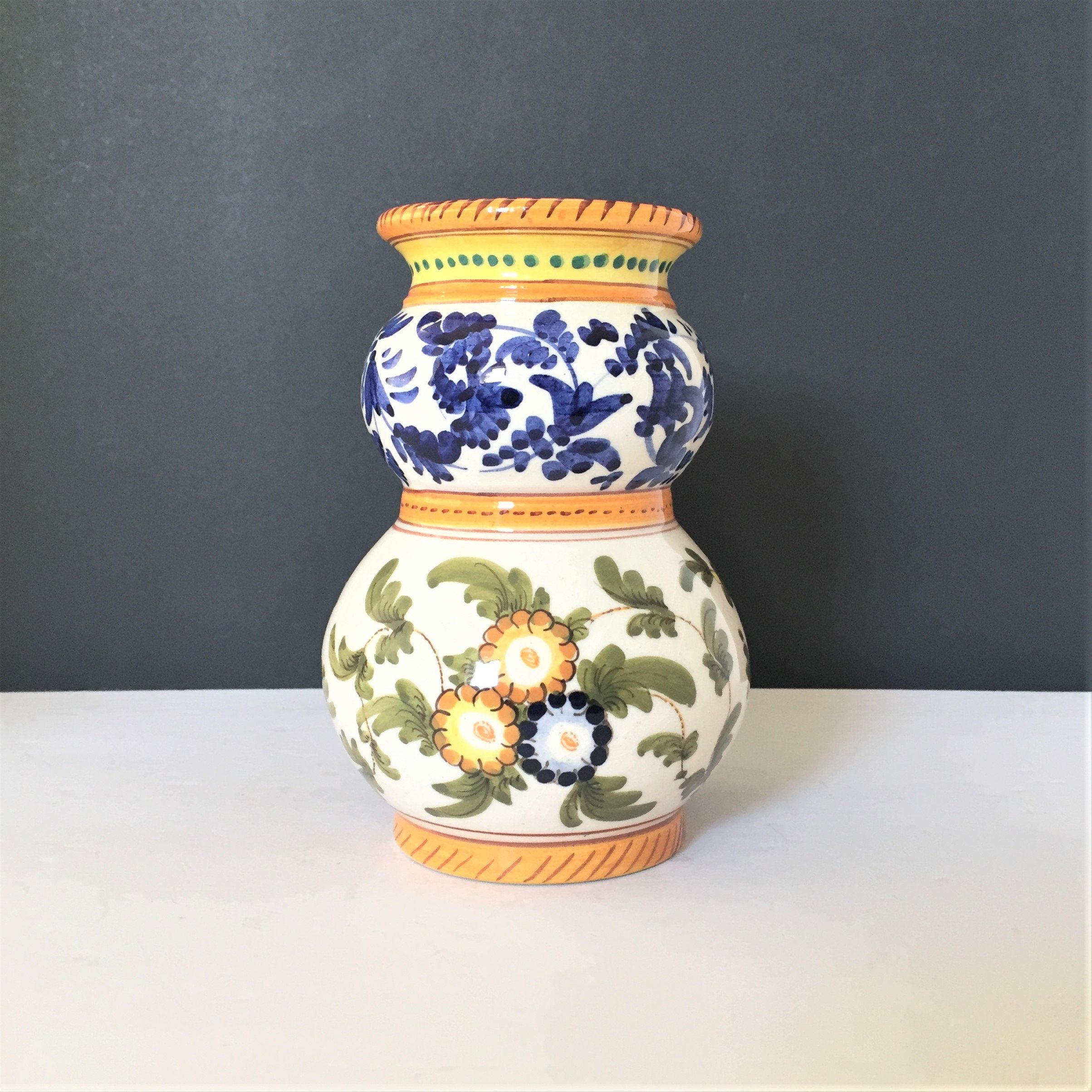 Vintage Italian Vase Italian Pottery Floral Blue And Green