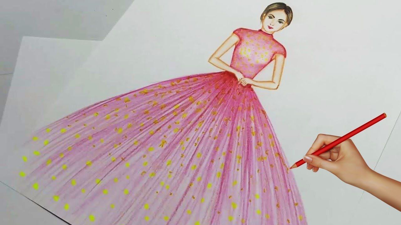 Easy Drawings How To Draw A Wonderful Dress Learn To Draw For Beginn Easy Drawings Sketches Easy Drawing For Beginners