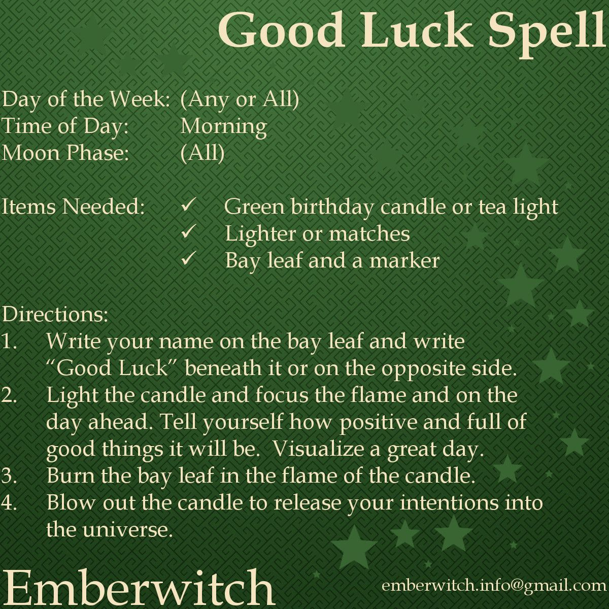 Good Luck Spell #moneyspell Simple spell for good luck that can be done daily #greenwitchcraft