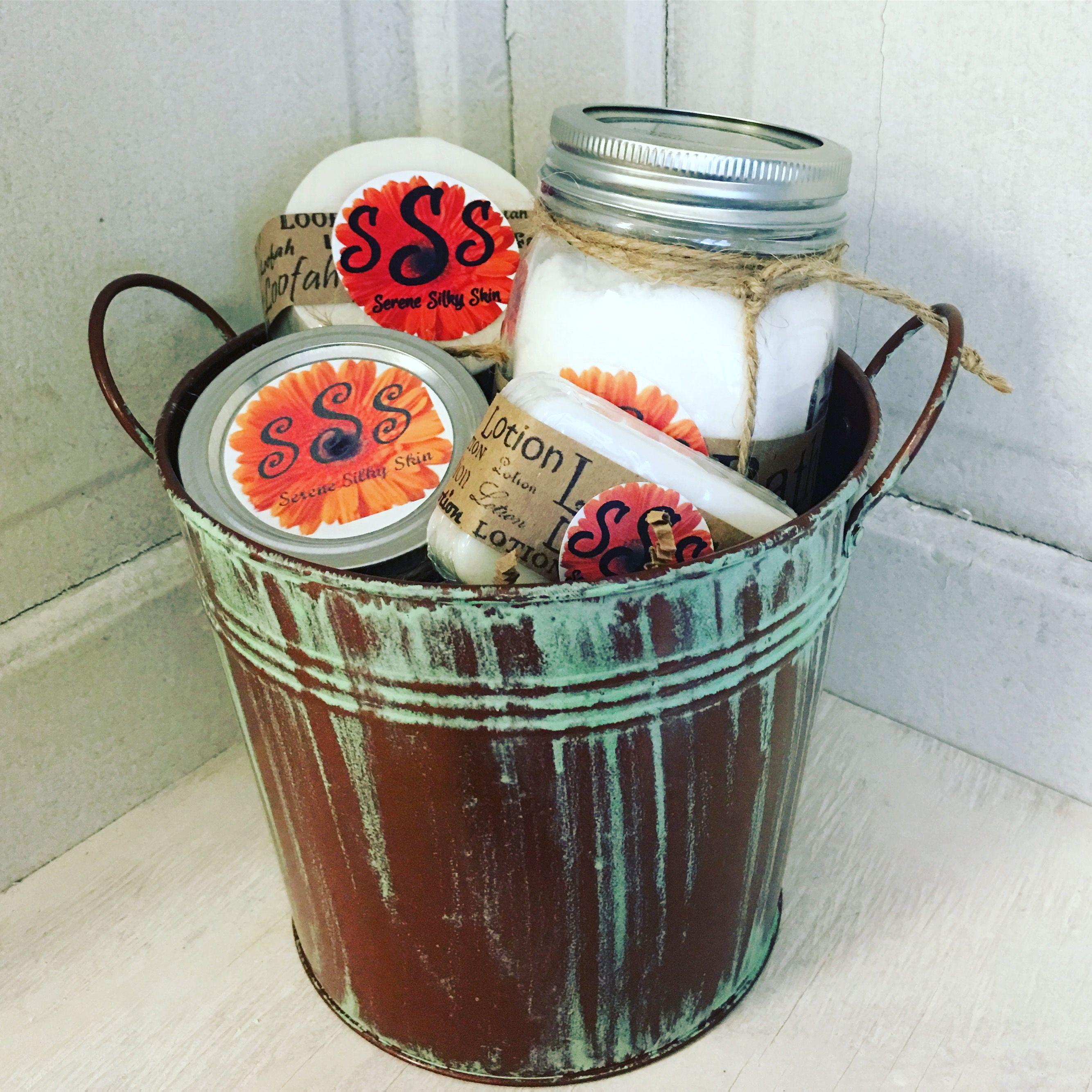 Gift set winter mint bath salts sugar scrub loofah soap
