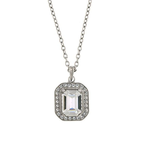 Silver One Size 1928 Jewelry Womens Silver-Tone Crystal Octagon Pendant Necklace