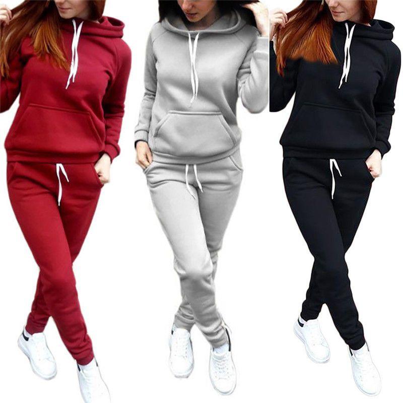Women/'s 2pcs Tracksuit Sweatshirt Pants Set Sport Gym Yoga Jogging Fashion Suit